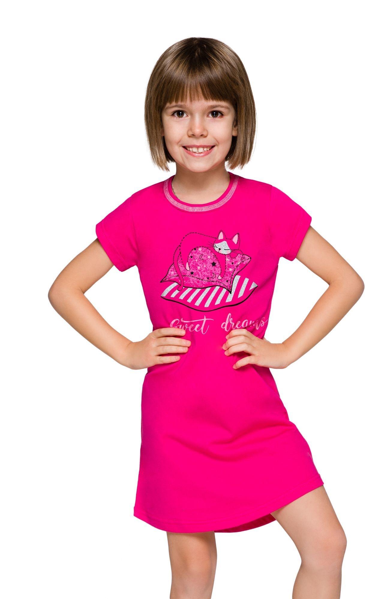 Dívčí noční košile Matylda růžová s kočičkou - ELEGANT.cz e81aa1aaf4