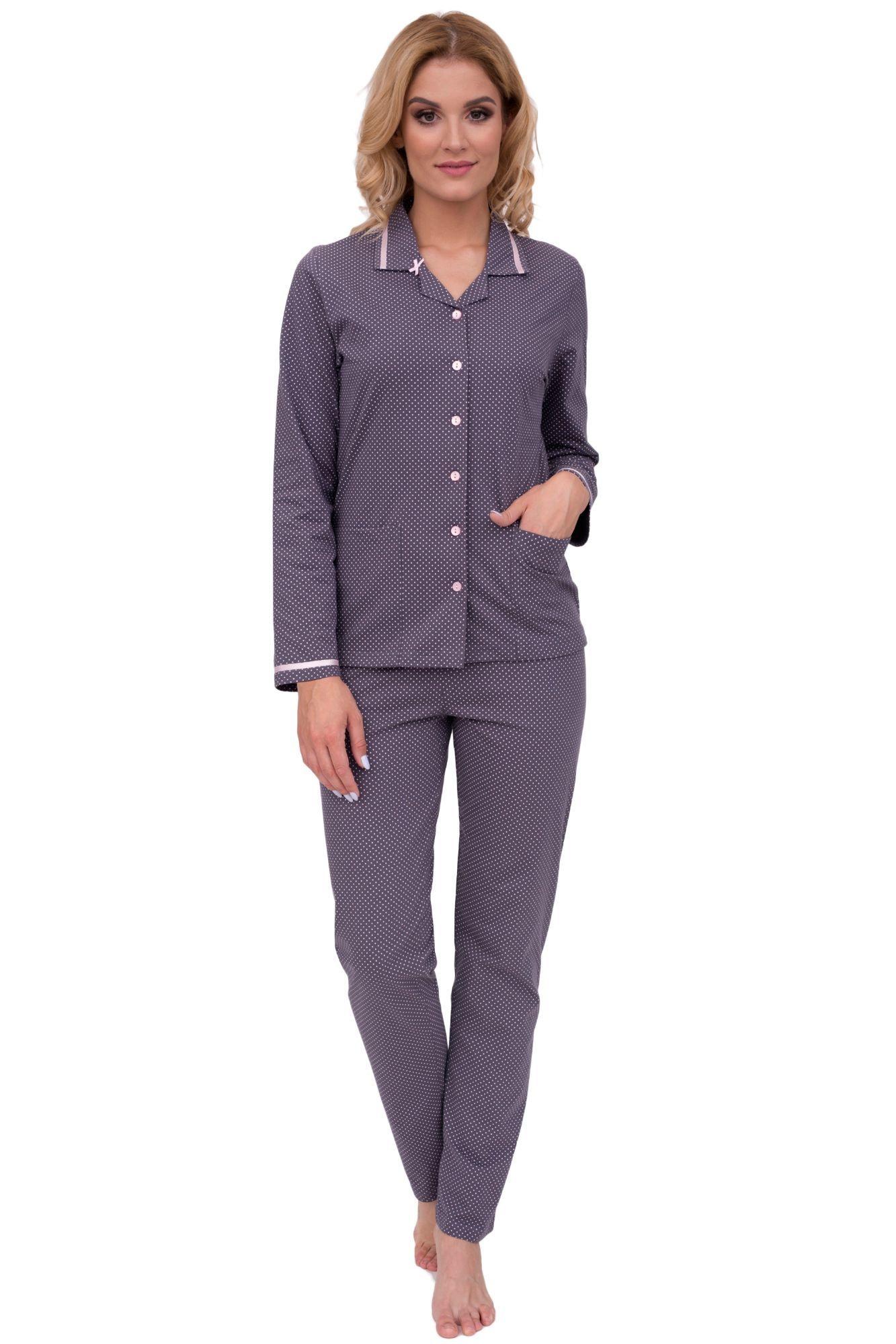 8ed8c37af Luxusní dámské bavlněné pyžamo Iva puntíky s dlouhými rukávy