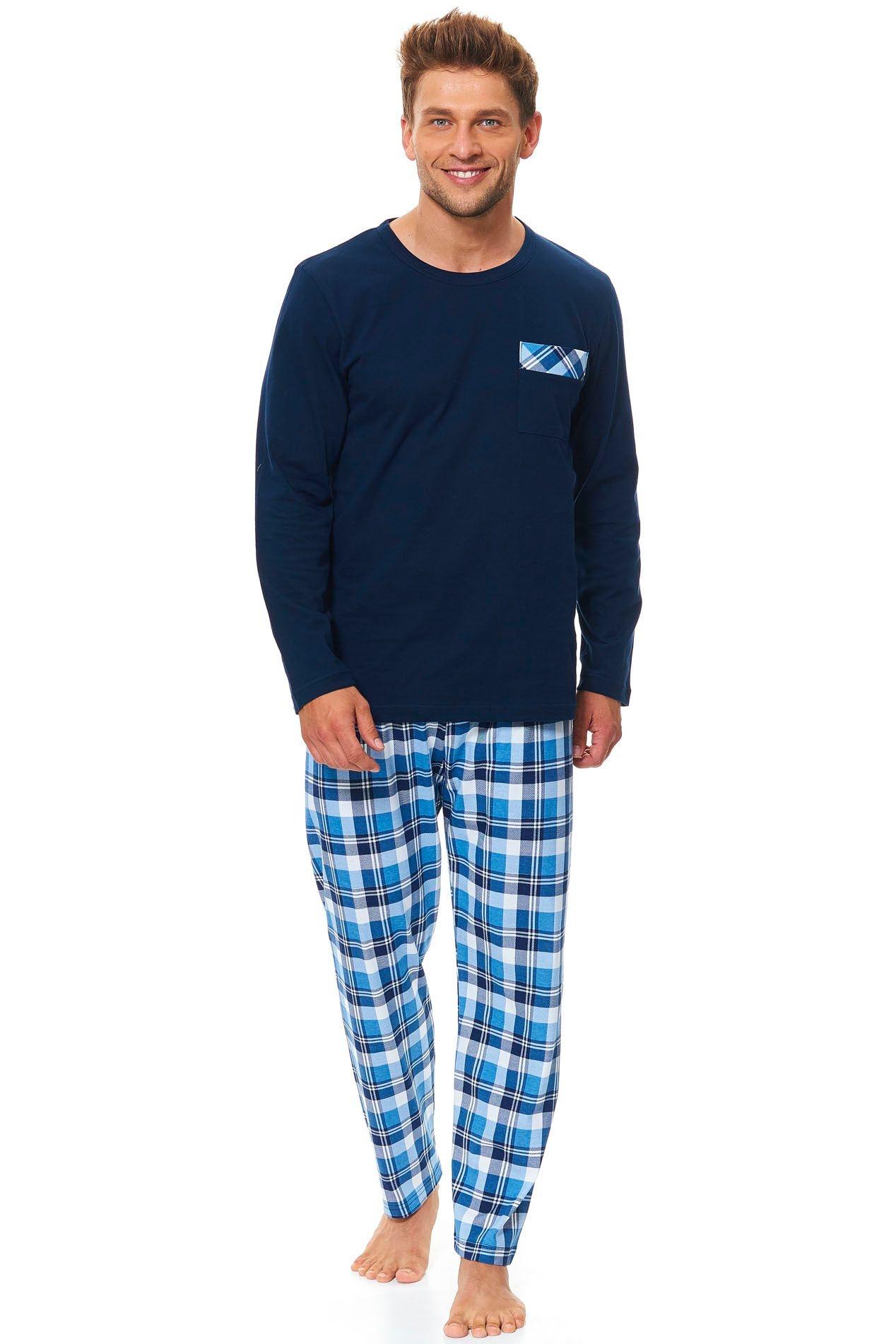 Pánské bavlněné pyžamo Tom tmavě modré dlouhé - ELEGANT.cz 7f7d9dd137