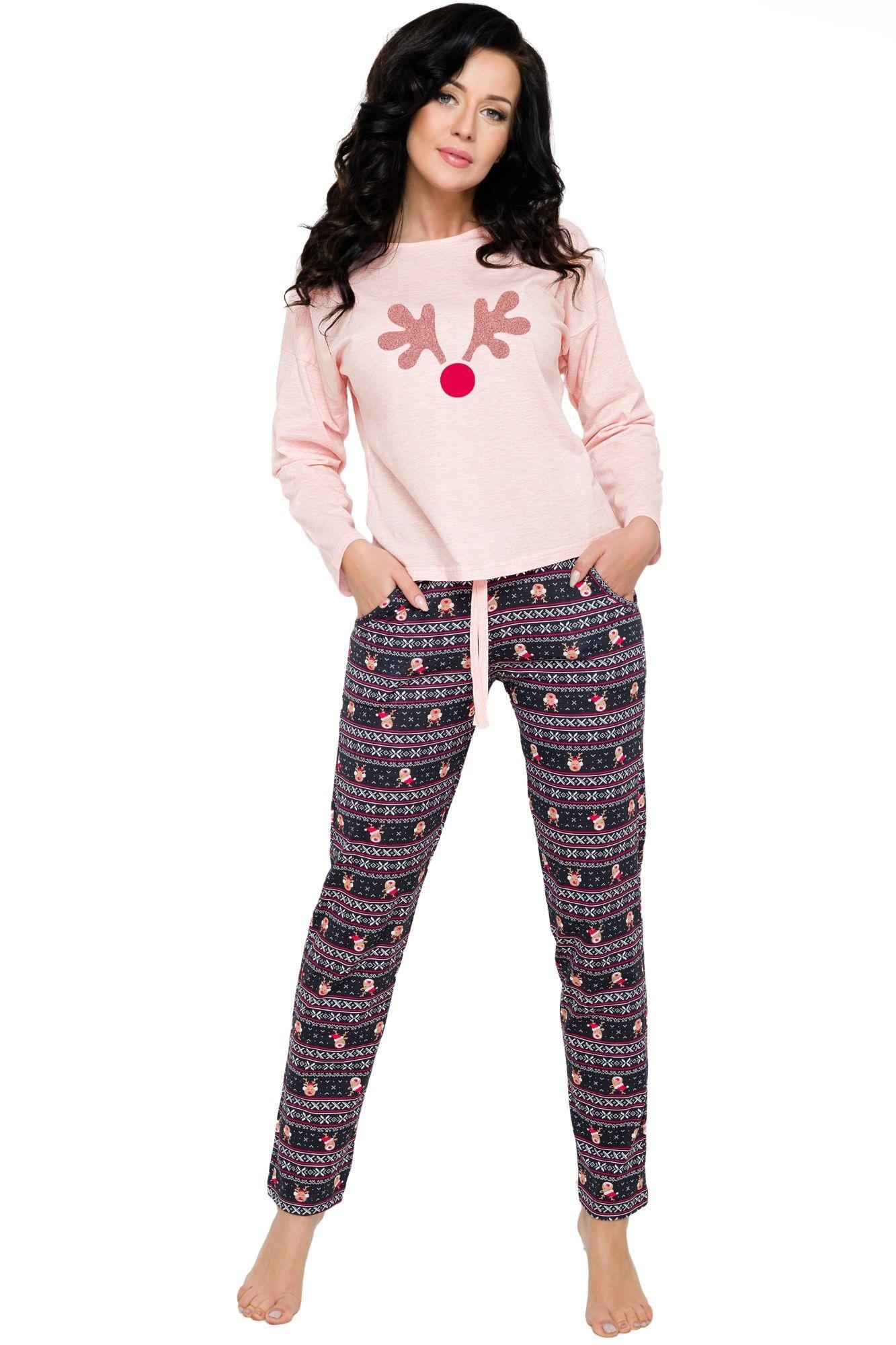 fc881c4d0b92 Bavlněné dámské pyžamo Nadia růžové s vánočním vzorem s kapsami a dlouhými  rukávy