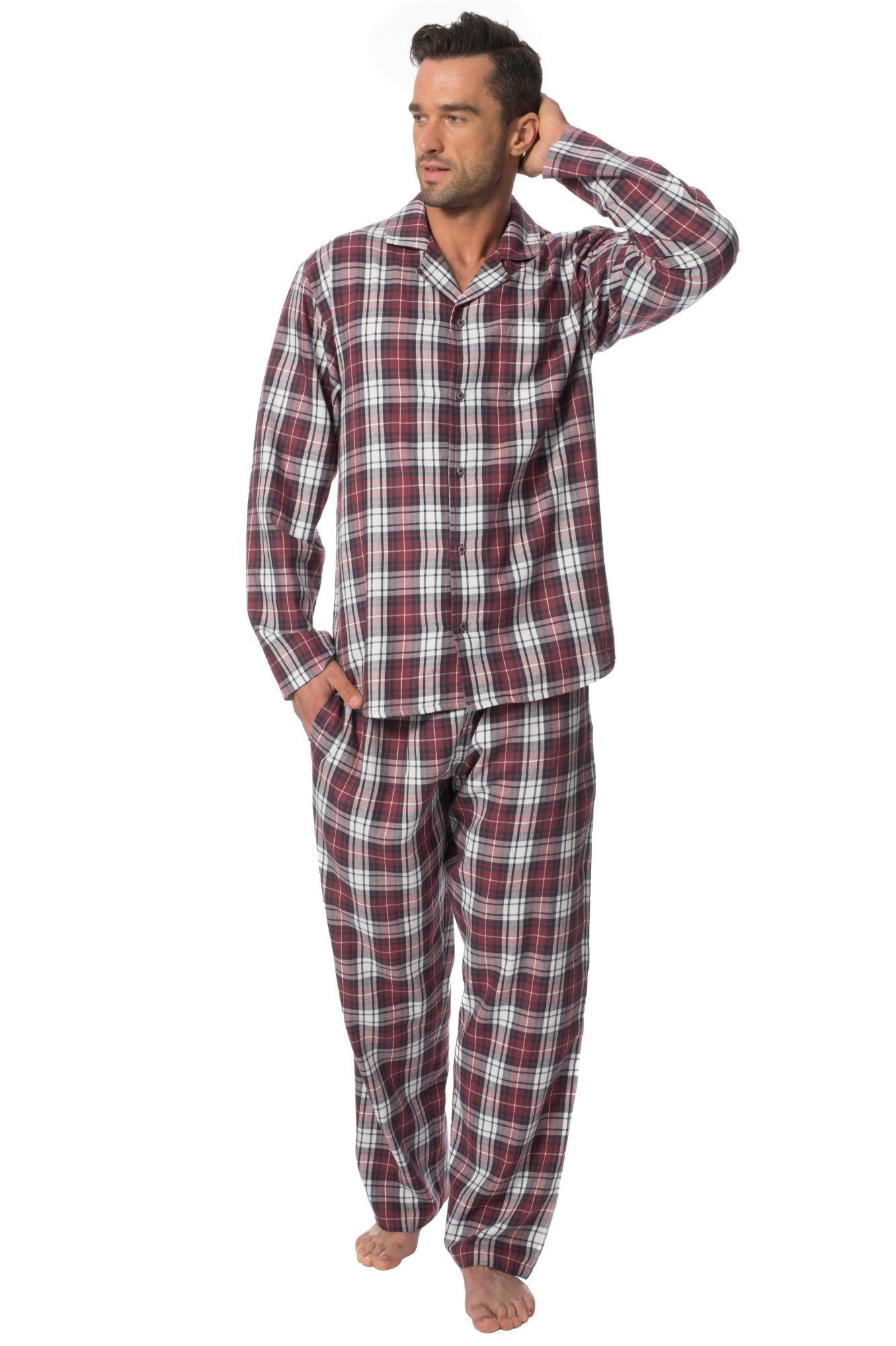 3fca6be24333 Pánské flanelové pyžamo Sammy vínové káro - ELEGANT.cz