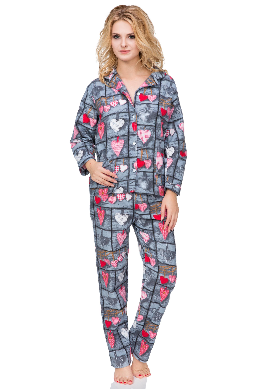 8fa88d6f4f72 Flanelové pyžamo Wally rozepínací s originálním vzorem ve vintage stylu