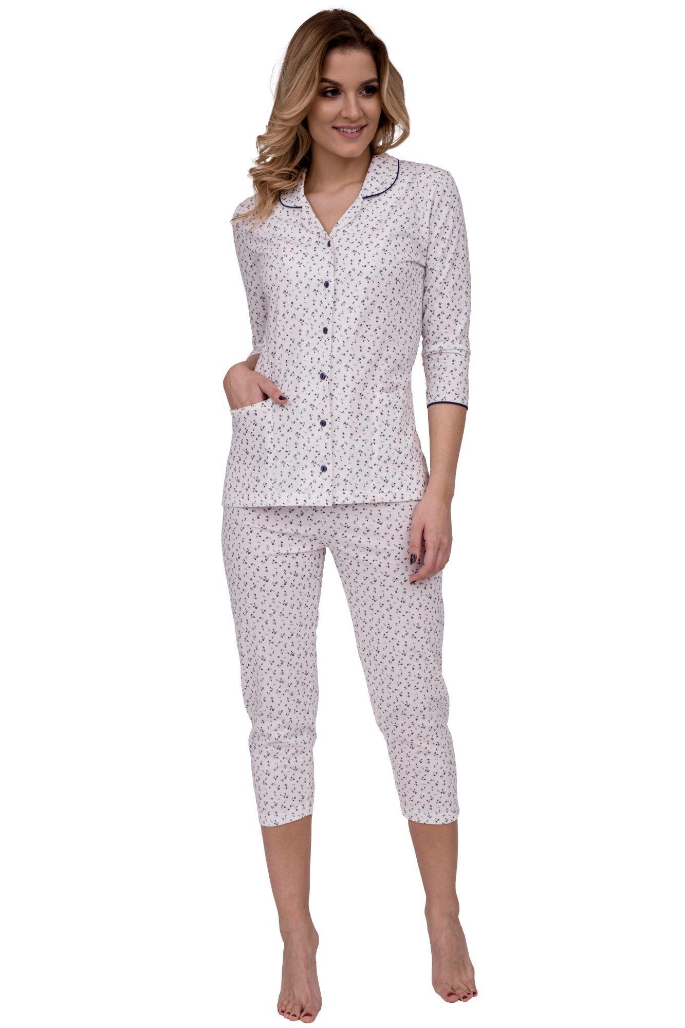 4ff9d3cae Luxusní dámské bavlněné pyžamo Adriana s kvítky na knoflíčky