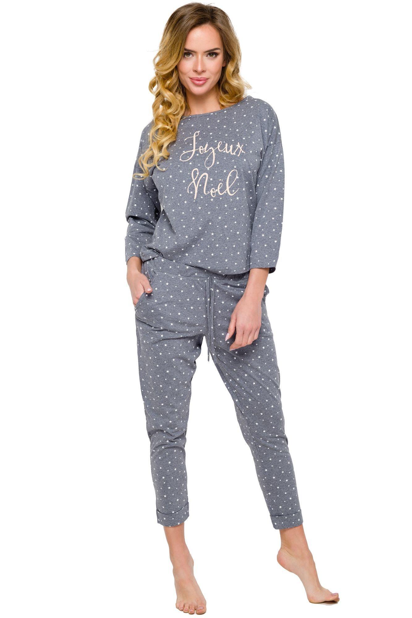 386f7bb4f2e Dámské bavlněné pyžamo Jurata šedé s hvězdičkami s dlouhým rukávem