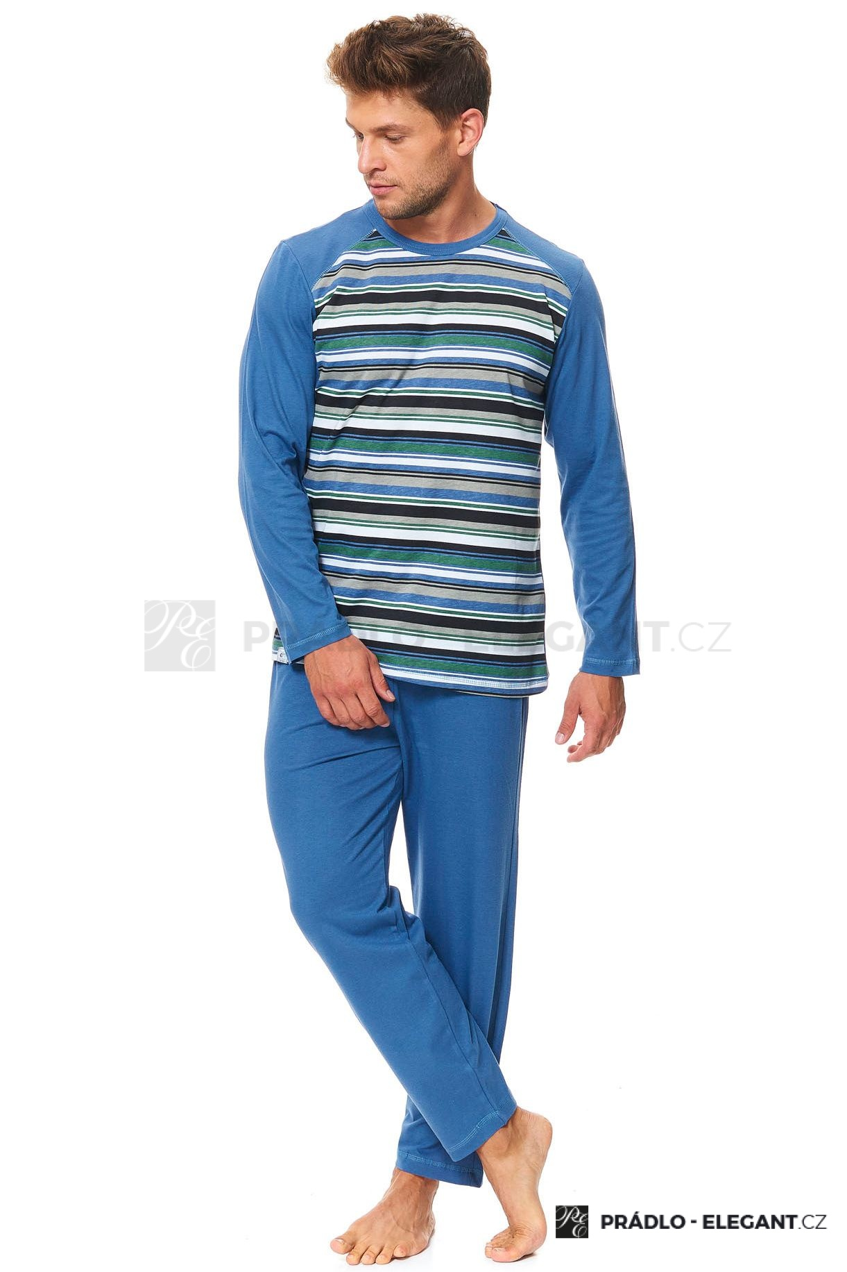 f5a2fd756 Pánské bavlněné pyžamo Henry zelené pruhy - ELEGANT.cz