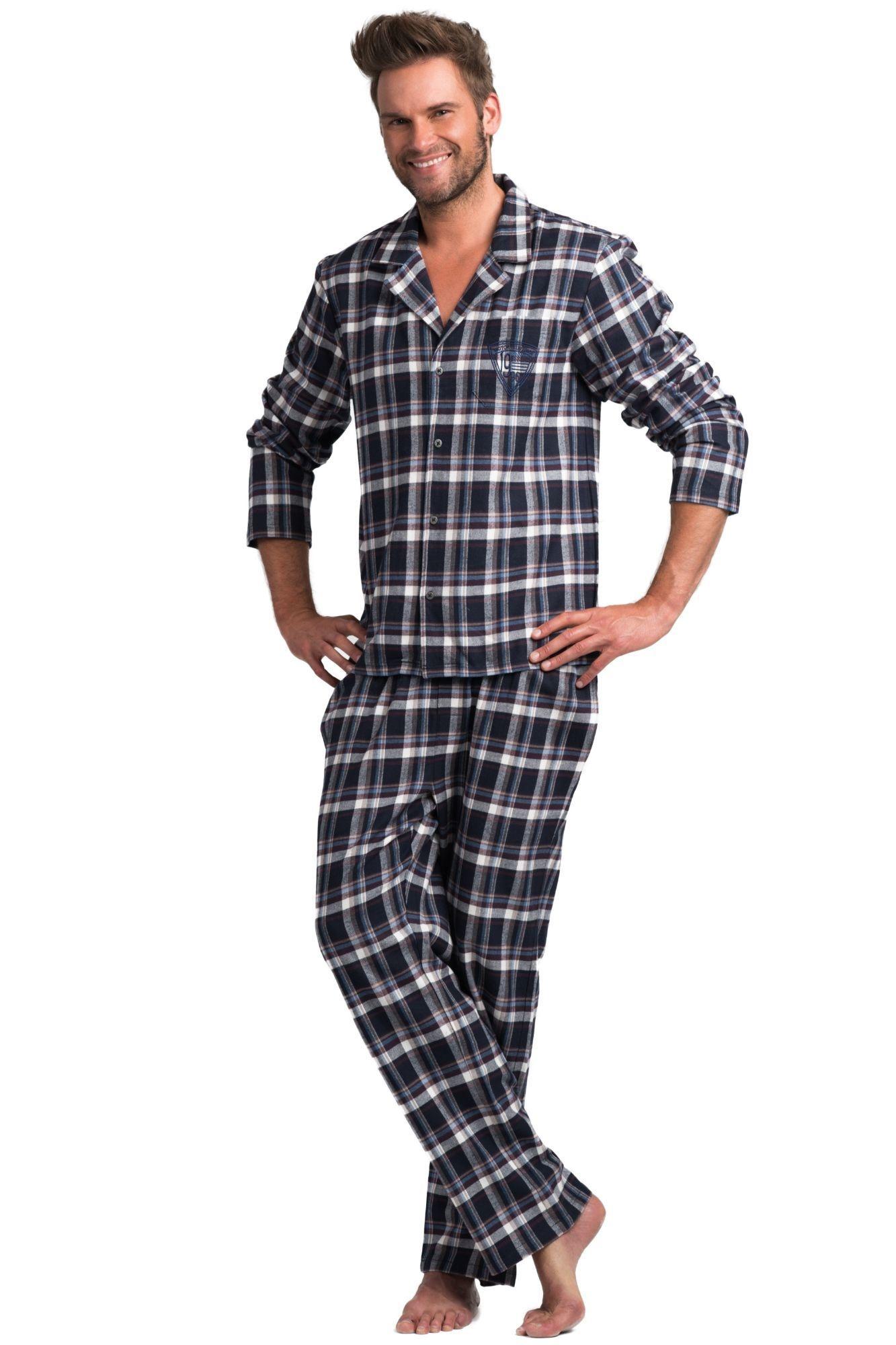 b556b5faa3a6 Pánské flanelové pyžamo Will modré káro - ELEGANT.cz