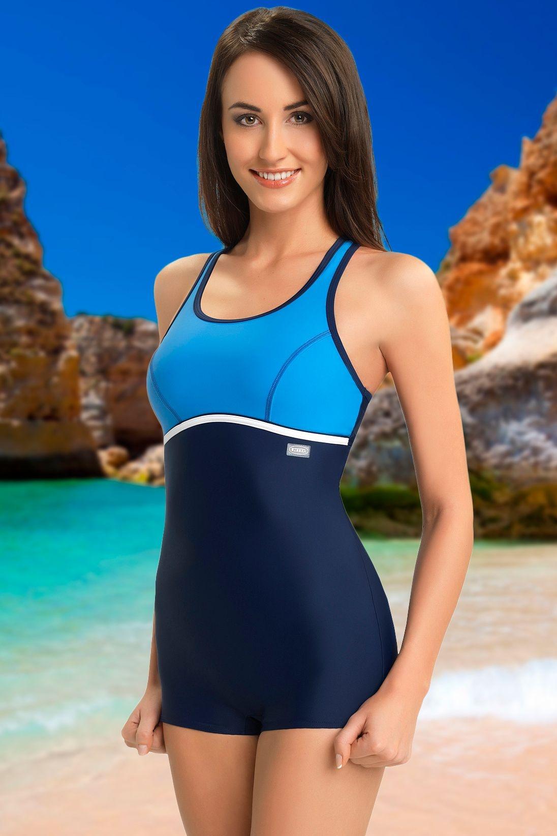 5728616cf1f Jednodílné sportovní plavky s nohavičkou Ines modré - ELEGANT.cz