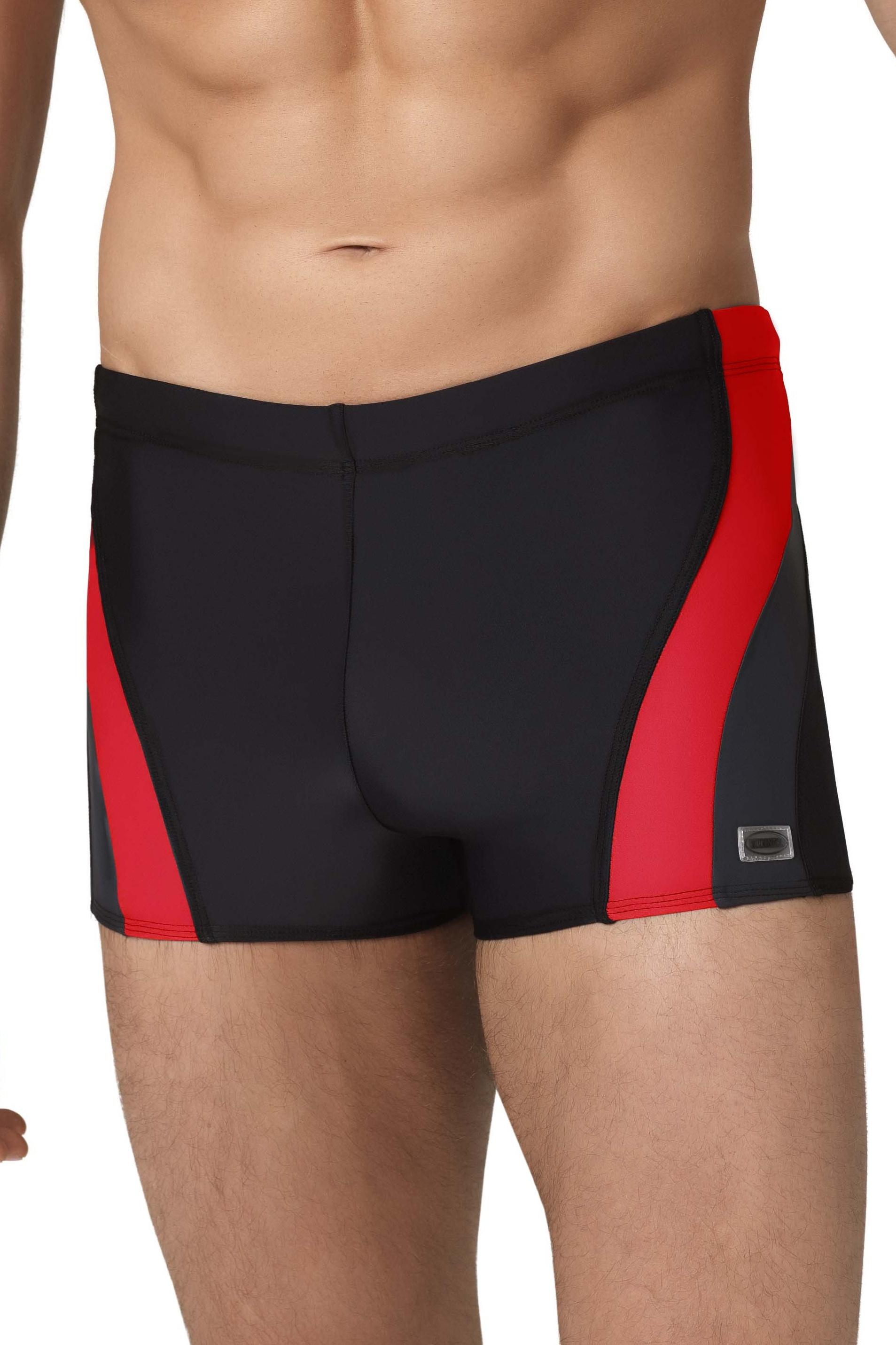 065b6aafaf4 Pánské boxerkové plavky Philip2 černočervené - ELEGANT.cz