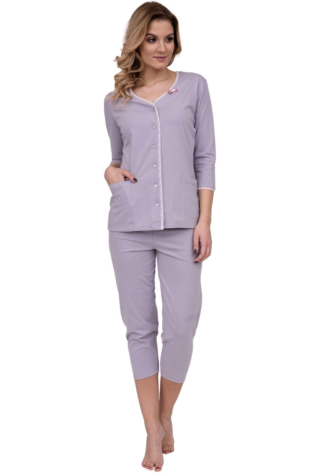 409c54ff3 Luxusní dámské bavlněné pyžamo Gábina s puntíky na knoflíky