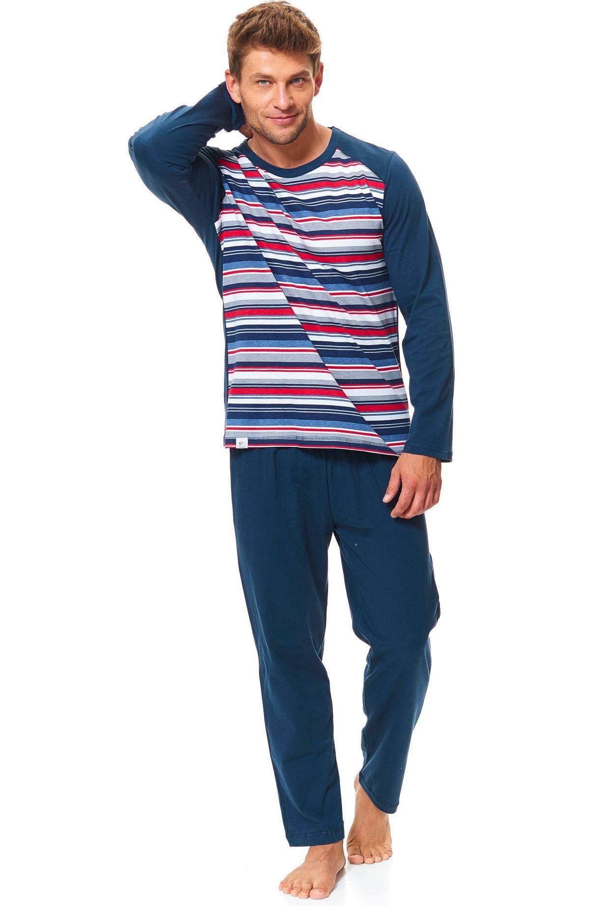 22858db43 Pánské bavlněné pyžamo Henry tmavě modré s pruhy - ELEGANT.cz