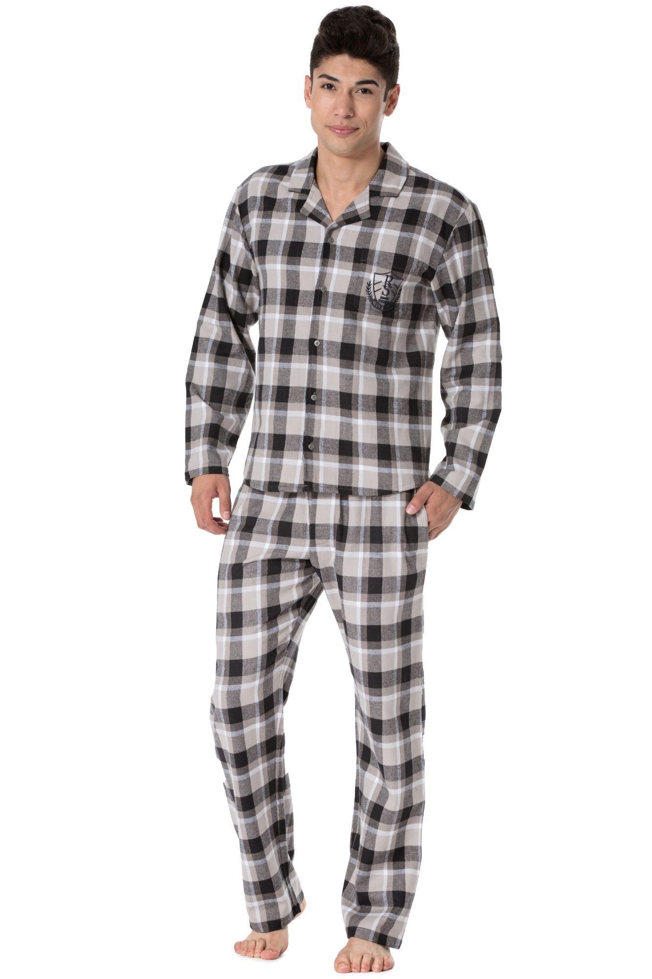 752c03703e30 Pánské flanelové pyžamo Richard hnědé káro - ELEGANT.cz
