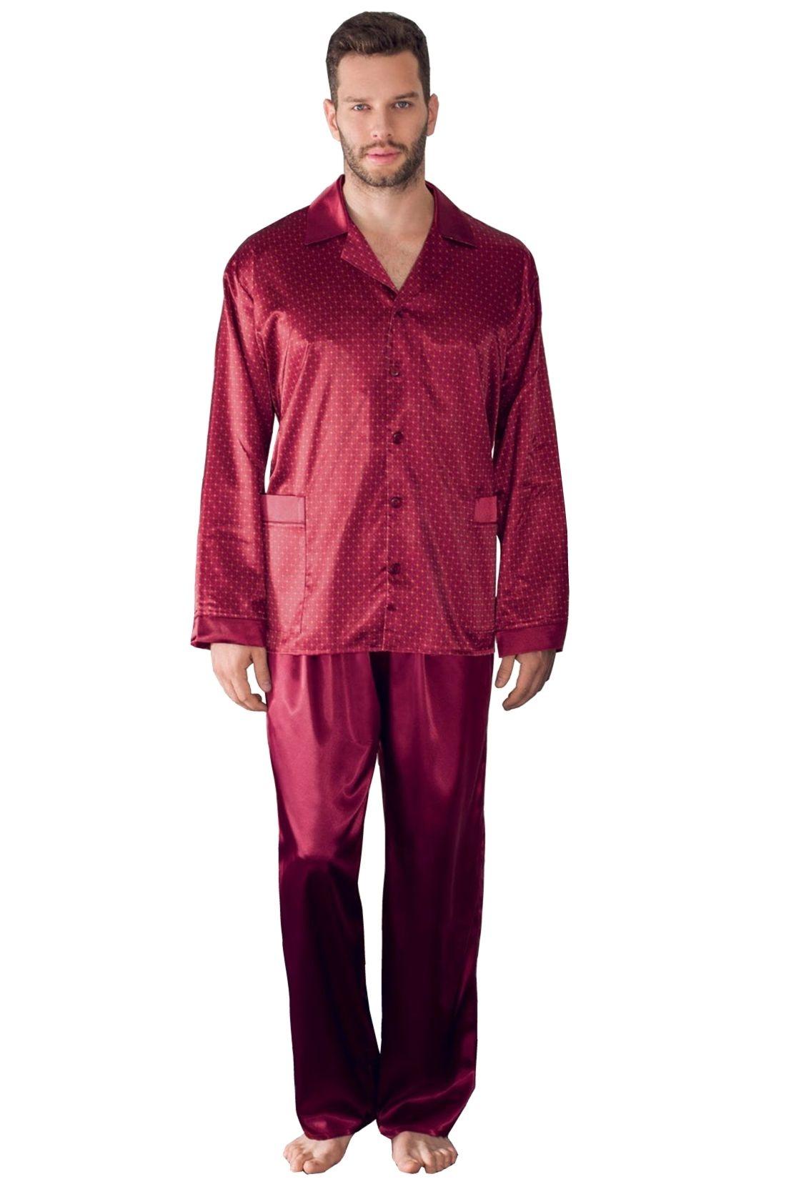 f6a56aee99dd Pánské saténové pyžamo Charles vínové se vzorem kostiček