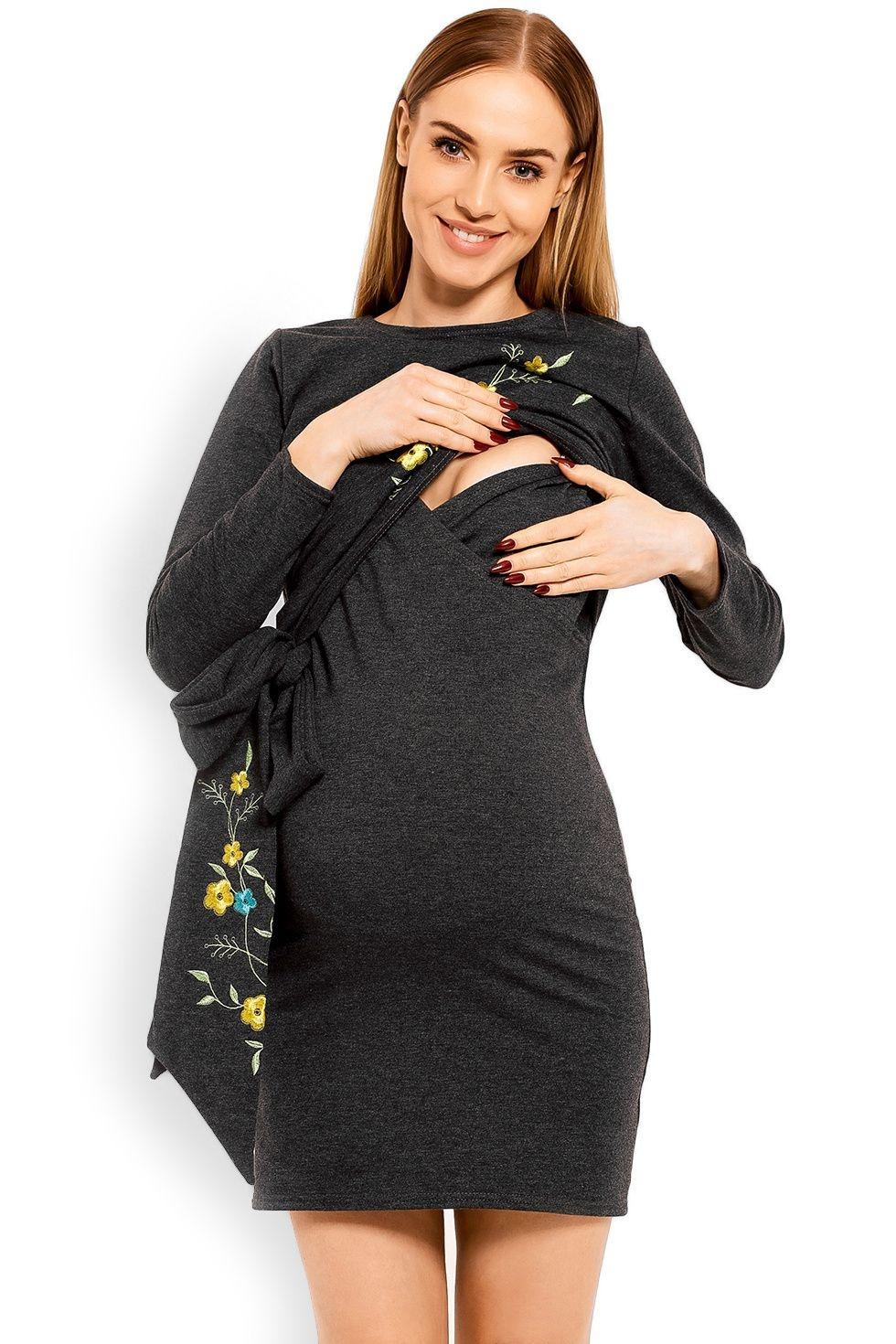 Těhotenské a kojící šaty Bonnie šedé - ELEGANT.cz 78f7e9f480