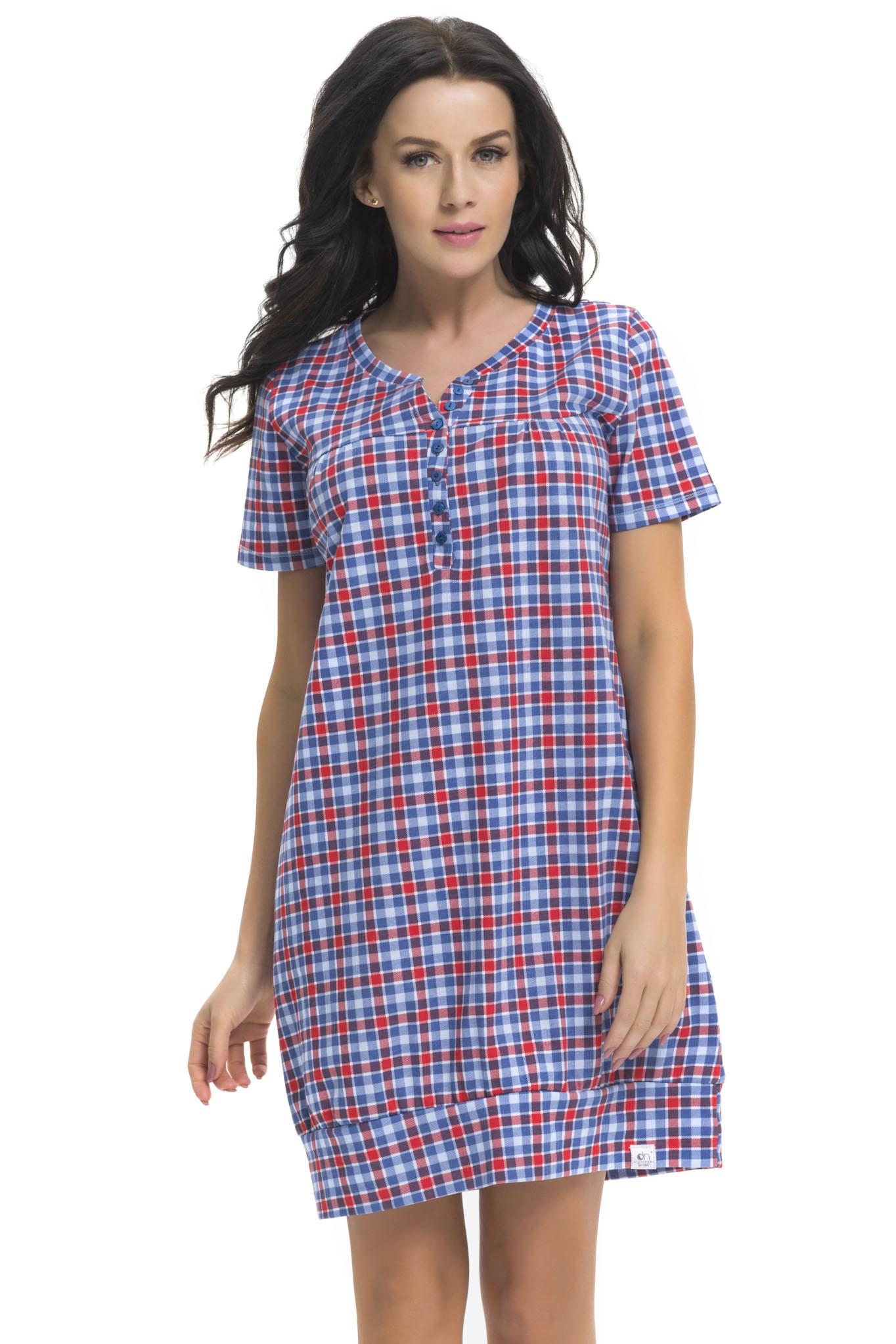 b286d14f884 Dámská bavlněná noční košile Carrie vzor káro - ELEGANT.cz