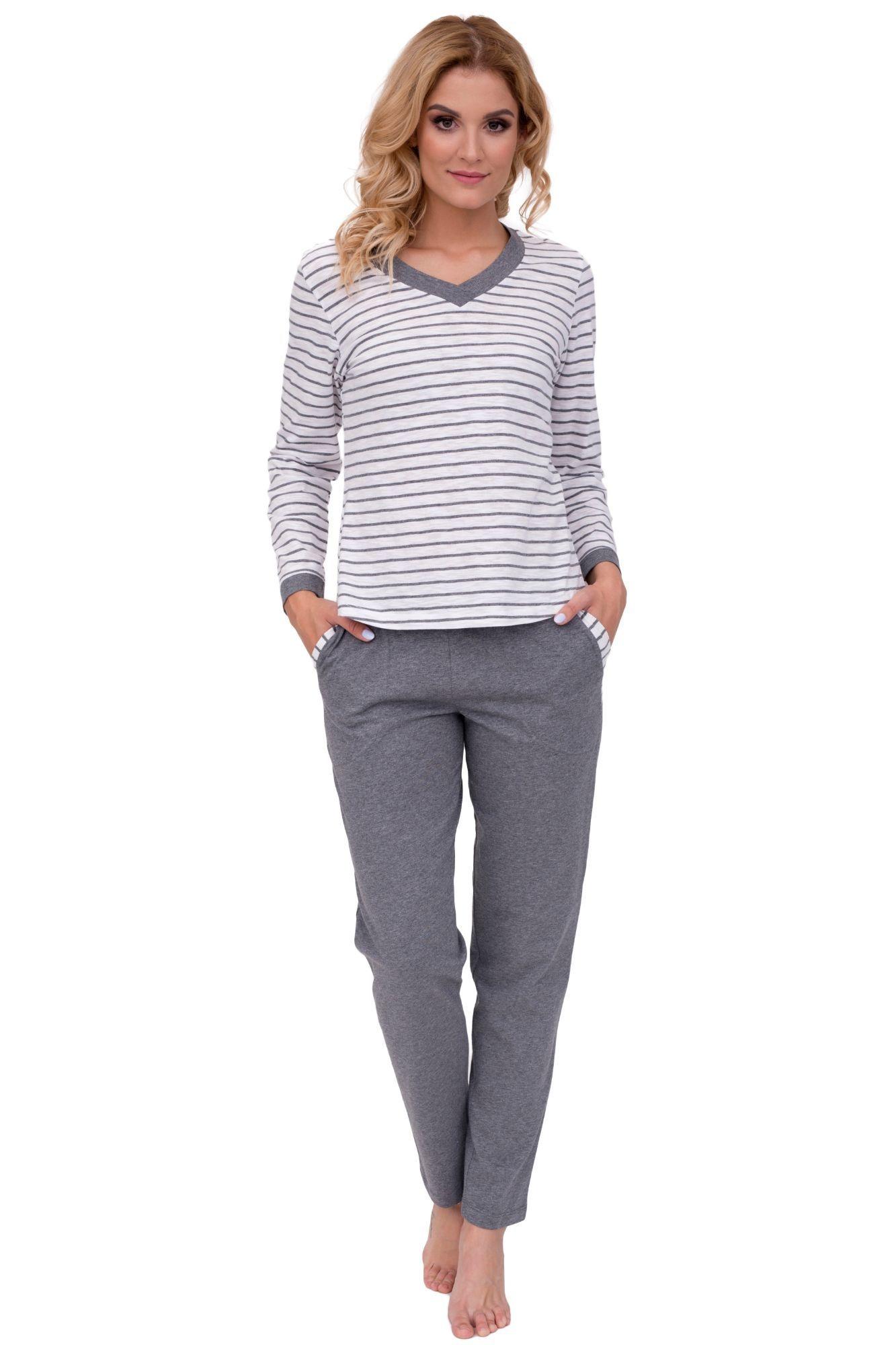ee6a7d8ec1c Luxusní dámské bavlněné pyžamo Lucie šedé s dlouhými rukávy