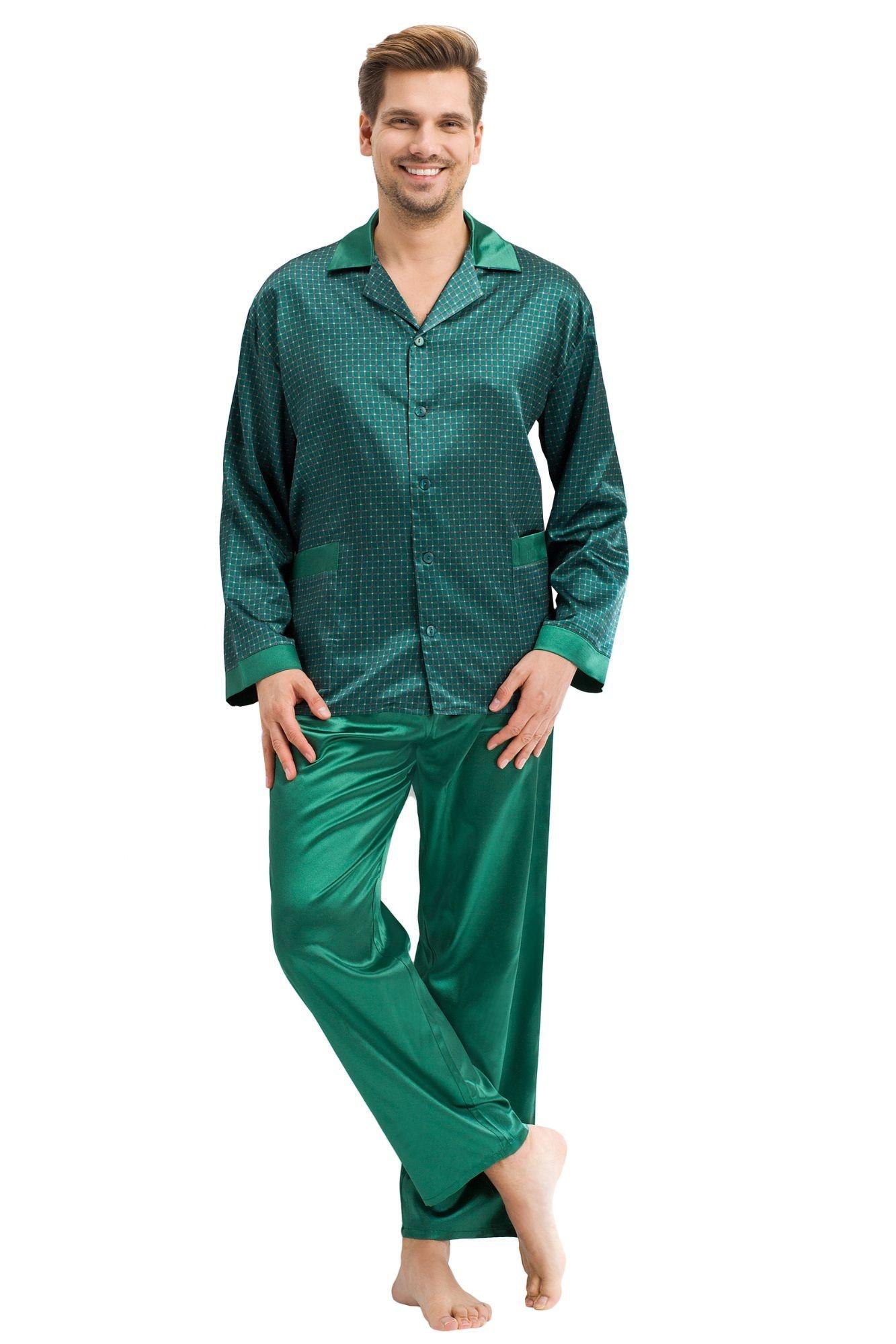 872618b4b6f4 Pánské saténové pyžamo Charles zelené - ELEGANT.cz