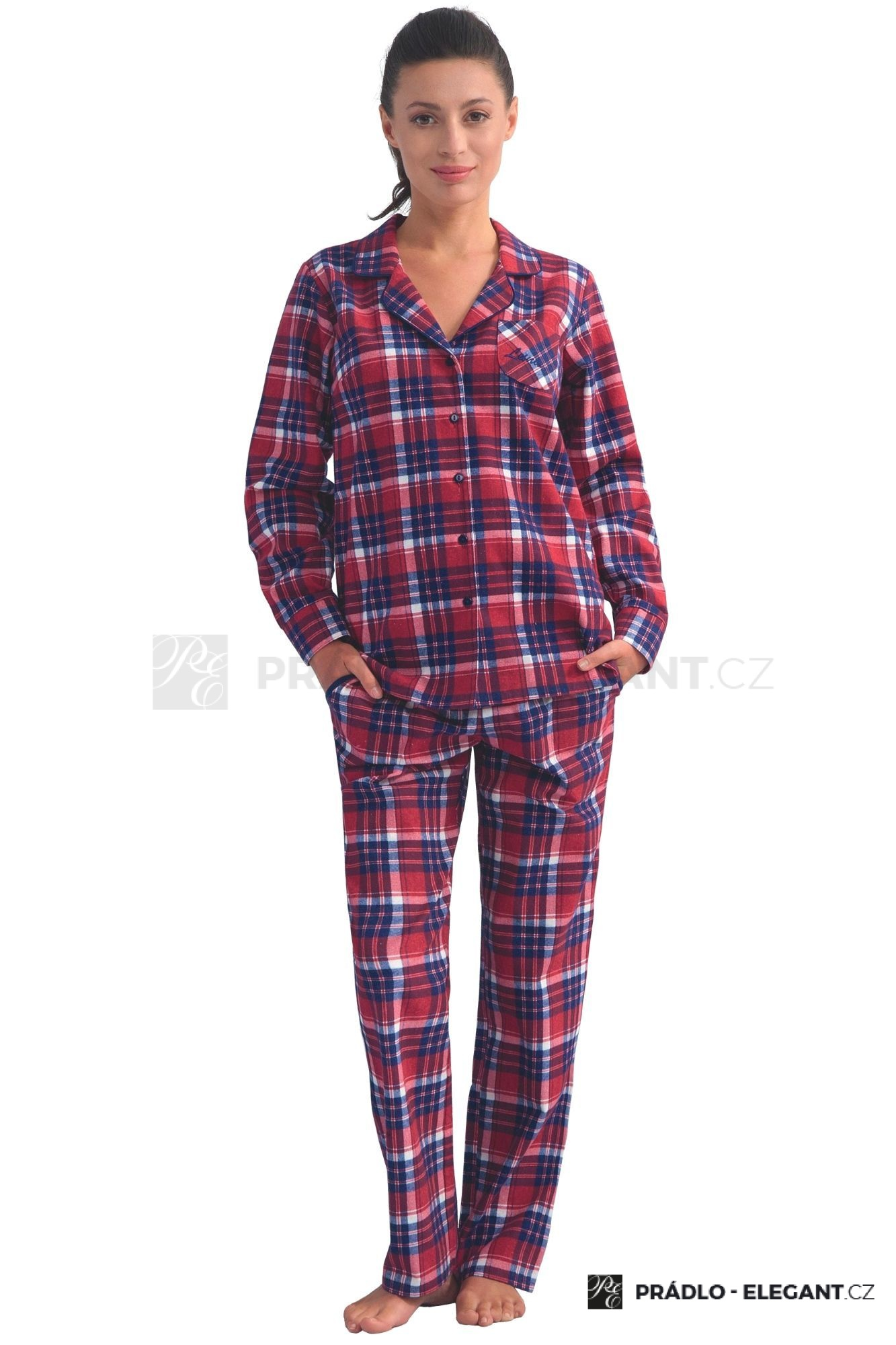 57aecd5a7edb Dámské flanelové pyžamo s dlouhými rukávy Dora vínové káro s límečkem a  kapsami