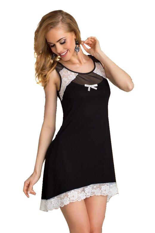 Dámská noční košilka Lilie černobílá