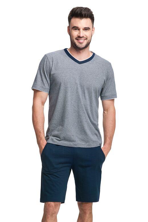 Pánské pyžamo Lukas tmavě modré proužkované L