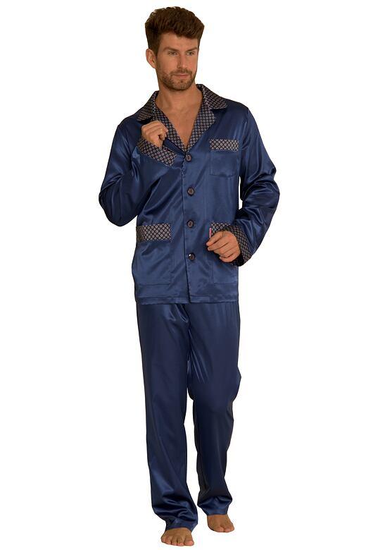 Saténové pánské pyžamo Adam tmavě modré 3XL