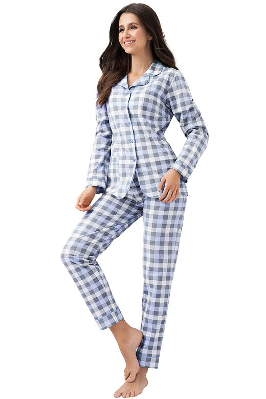 152a1641c Dámské propínací pyžamo Demi modré kostkované
