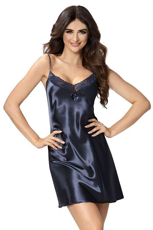 Luxusní saténová košilka Silvie tmavě modrá M - Dárkové balení