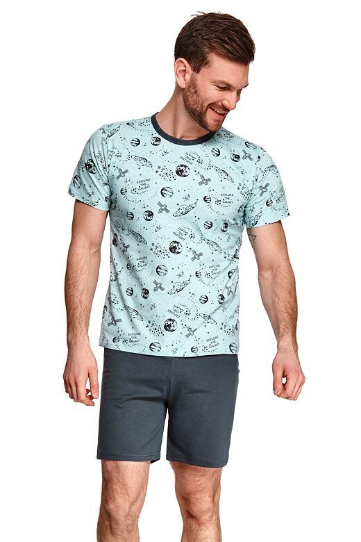 Pánské pyžamo Max modré vesmír XXL