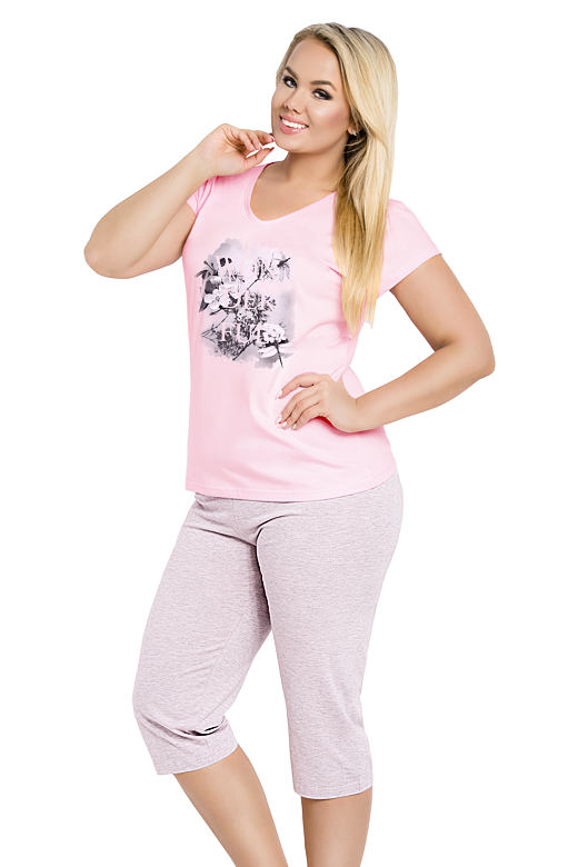 Dámské růžové bavlněné pyžamo Sylvie s květy nadměrná velikost