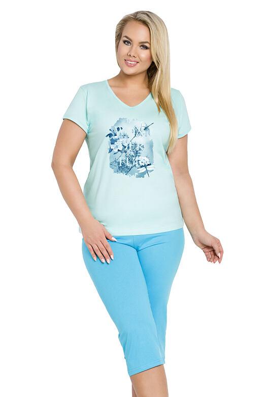 Dámské bavlněné tyrkysové pyžamo pro plnoštíhlé Sylvie