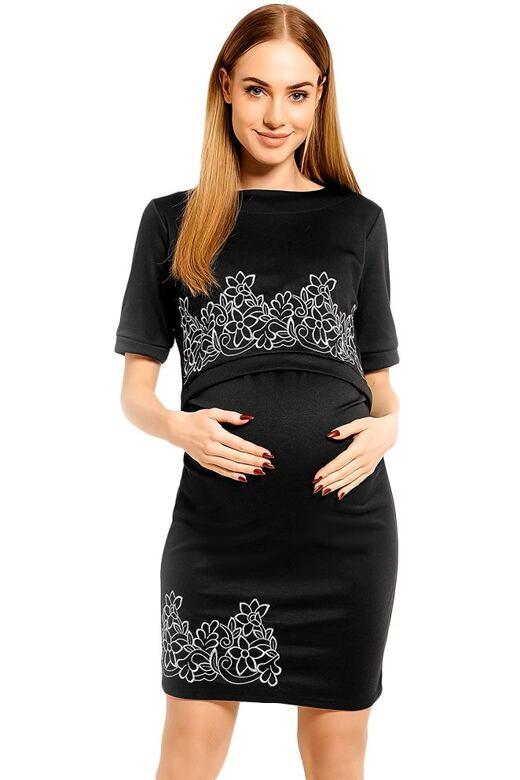 Těhotenské a kojicí šaty Melisa černé XXL