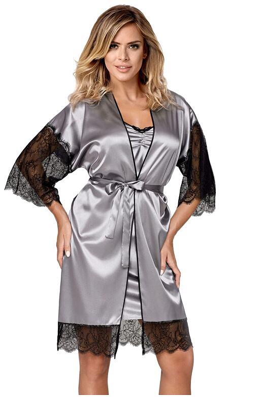 Luxusní dámský saténový župan Escora šedý XXL - Dárkové balení