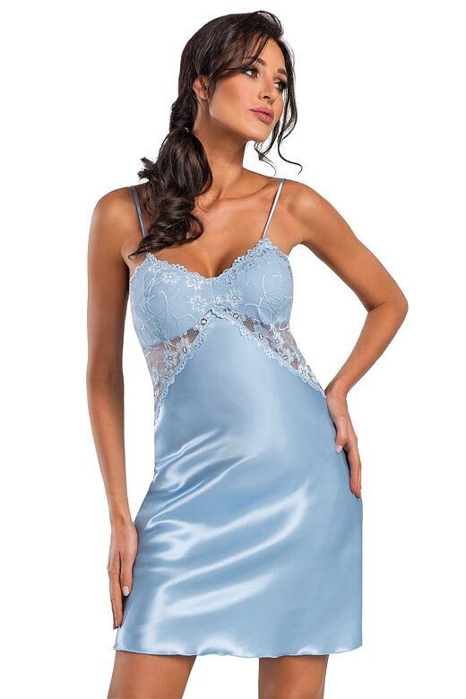 Luxusní saténová košilka Anya světle modrá L - Dárkové balení