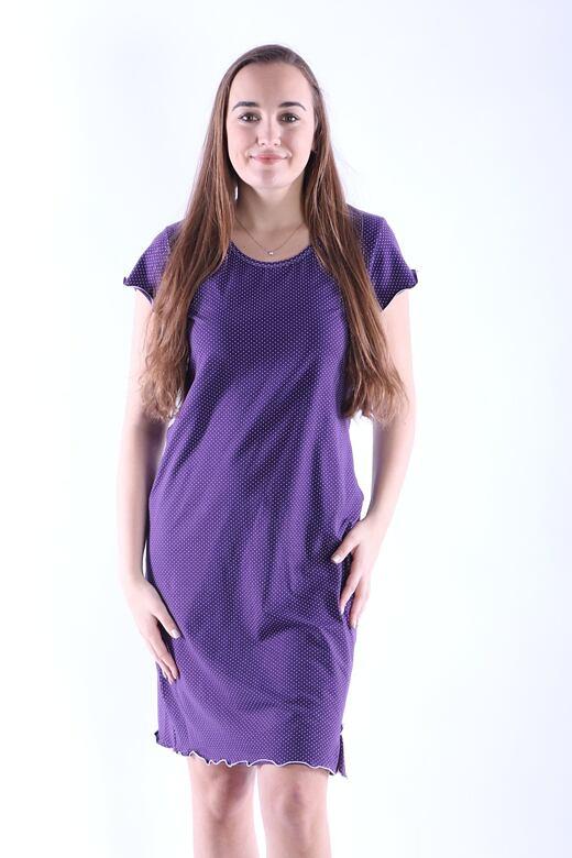Dámská noční košile Gabra fialová s puntíky M