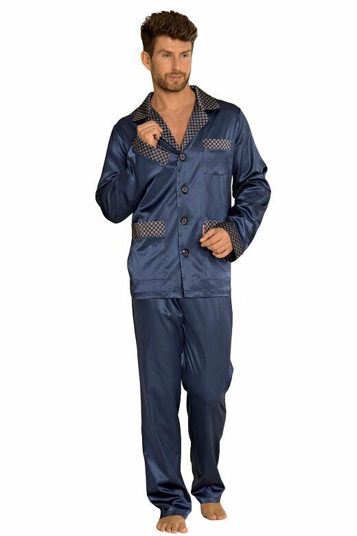 Saténové pánské pyžamo Adam tmavě modré M