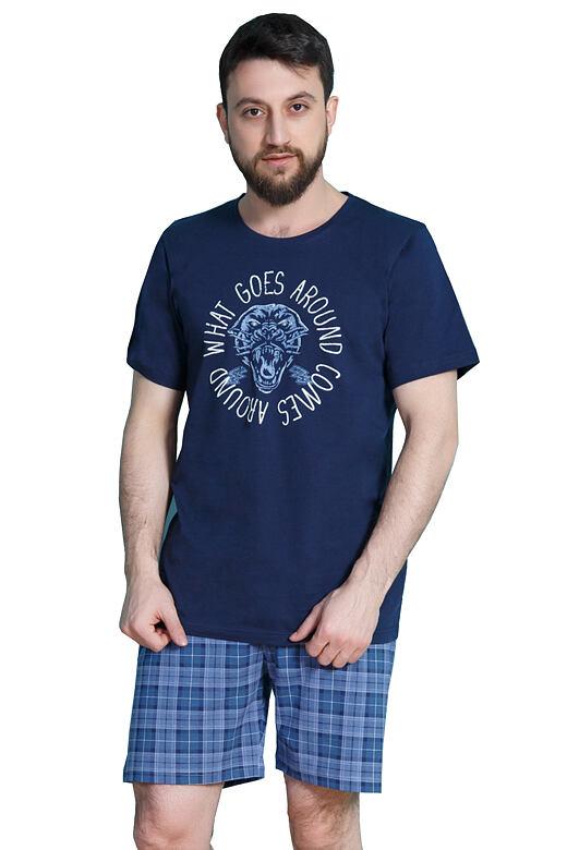 Krátké pánské pyžamo Ozzy tmavě modré