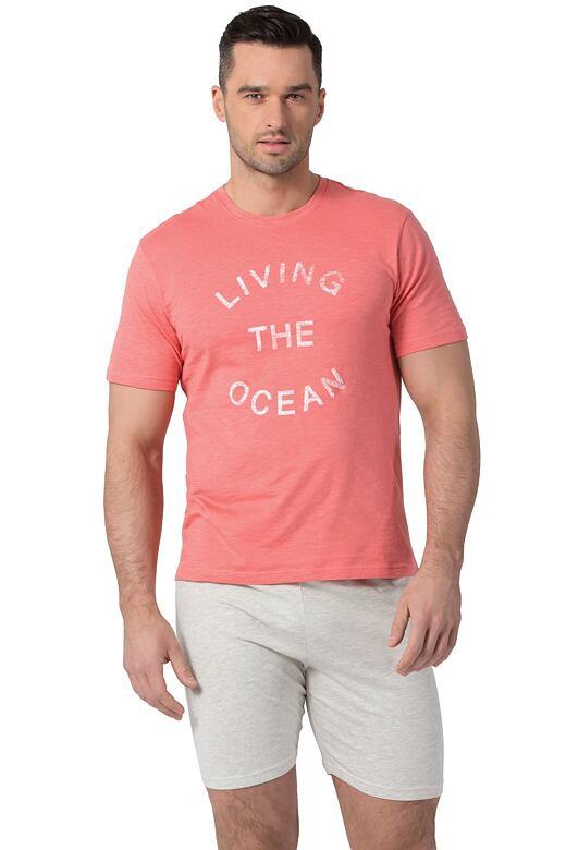 Pánské bavlněné pyžamo Liam korálové XL