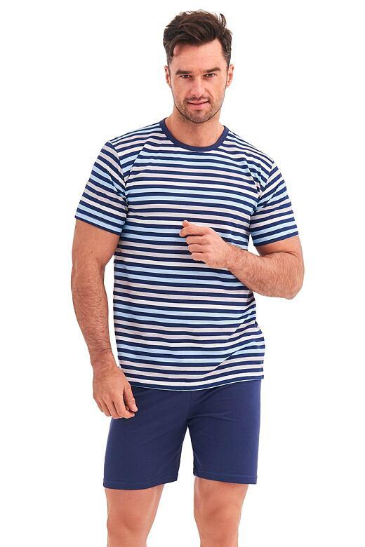 Pánské pyžamo Max modré proužky XXL