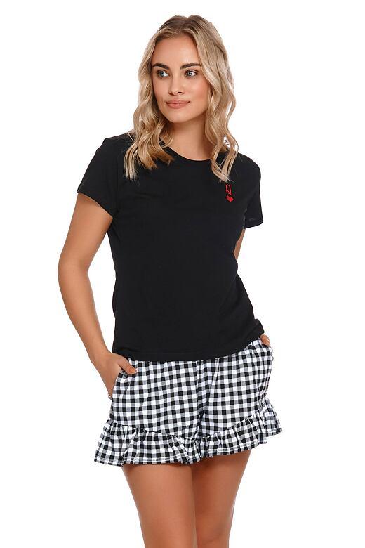 Levně Krátké dámské pyžamo Queen černé XL
