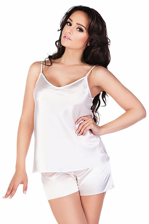 Dámské saténové pyžamo Classic bílé S