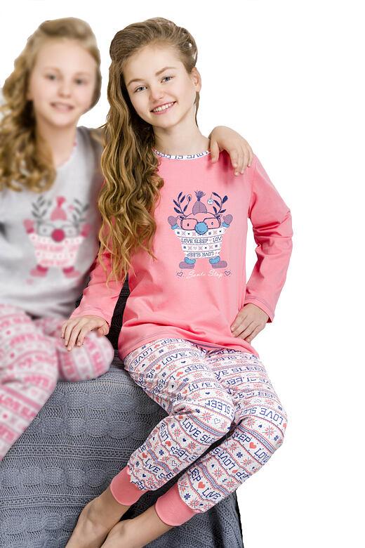Dívčí vánoční pyžamo Elza růžové