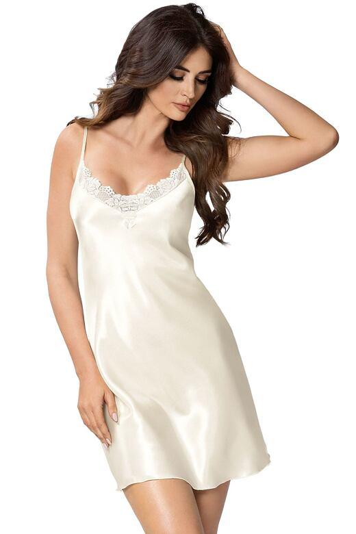 Luxusní saténová noční košilka Silvie ecru S - Dárkové balení