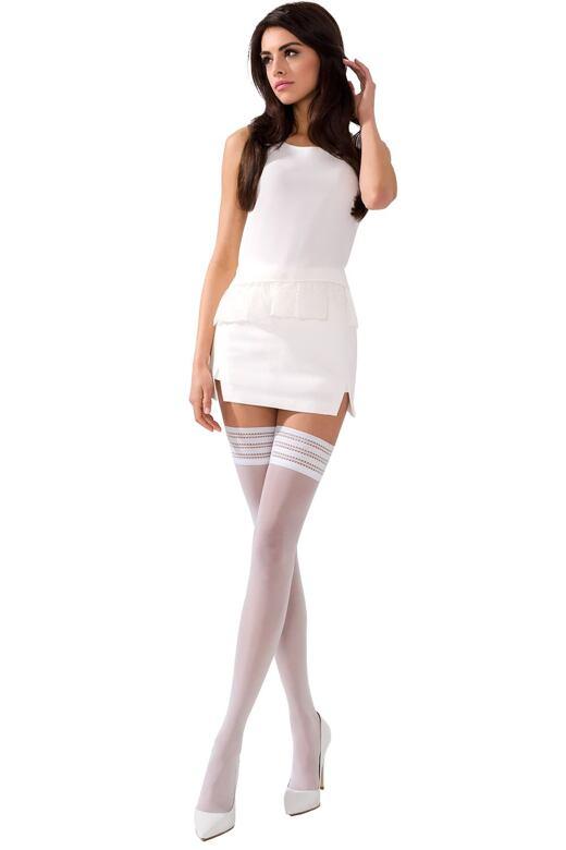 Samodržící punčochy ST005 bílé