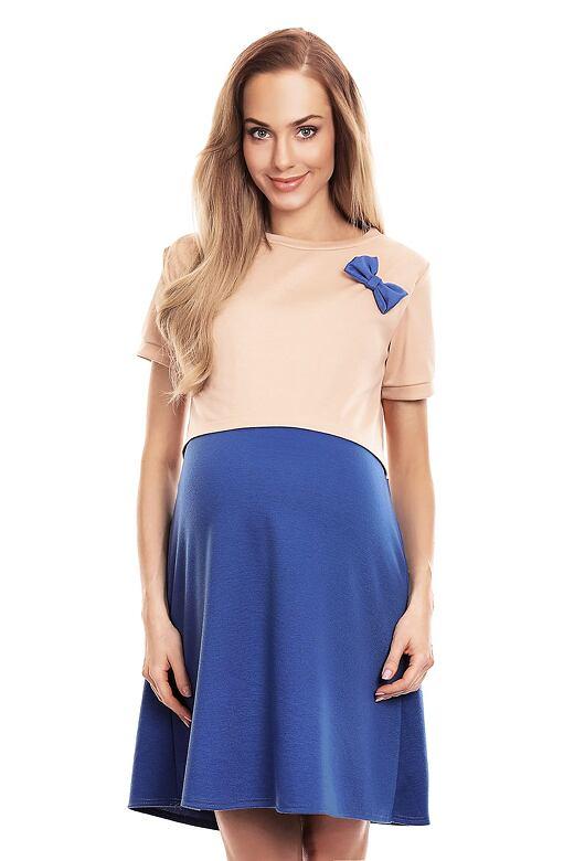 Těhotenské a kojící šaty Lydie béžovomodré