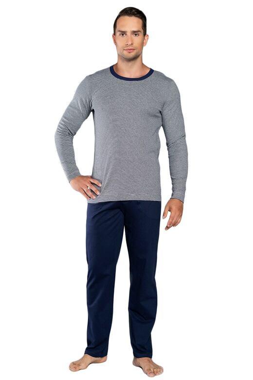 Pánské pyžamo Hilton modrošedé proužky XXL