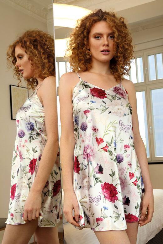 Saténová košilka Karen flowers 5 L - Dárkové balení