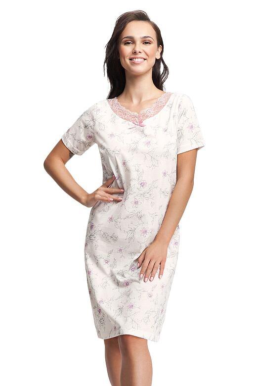 Dámská noční košile Valentina bílá s krajkou 3XL