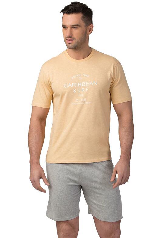 Pánské bavlněné pyžamo Matt žluté XXL