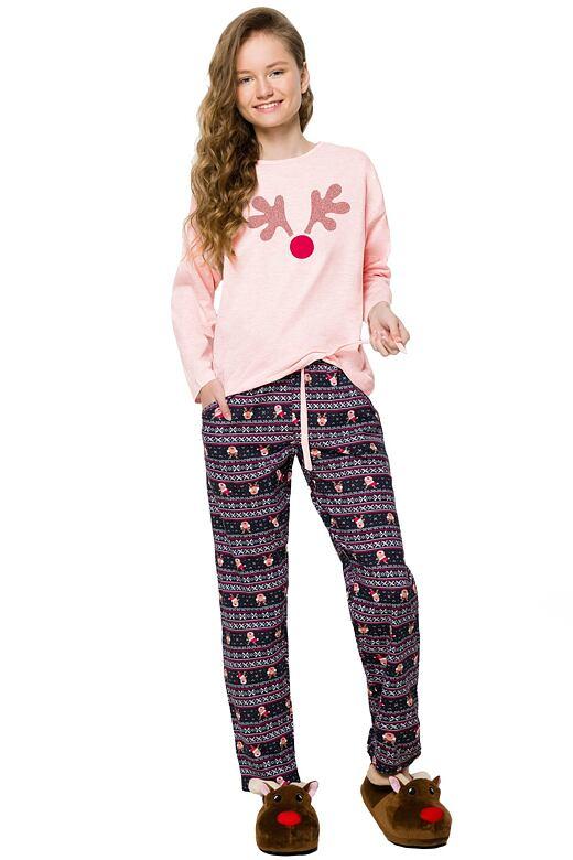 Dívčí vánoční pyžamo se sobem Nadia světle růžové