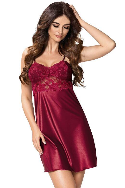 Luxusní saténová noční košilka Venus vínová S - Dárkové balení