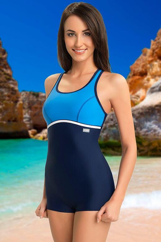 Jednodílné sportovní plavky s nohavičkou Ines modré